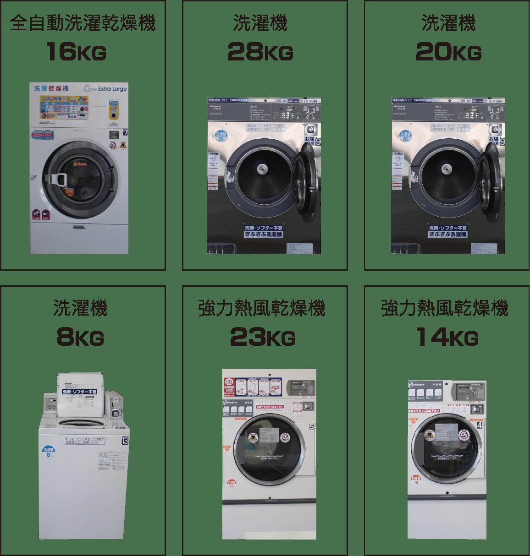 全自動洗濯乾燥機16KG 洗濯機28KG 洗濯機20KG 洗濯機8KG 強力熱風乾燥機23KG 強力熱風乾燥機14KG